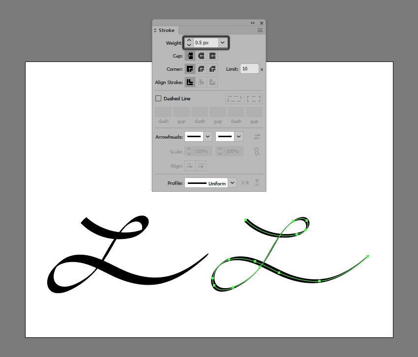 example of adjusting the weight of a brush stroke