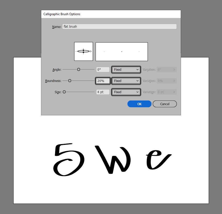 flat brush example with fixed settings