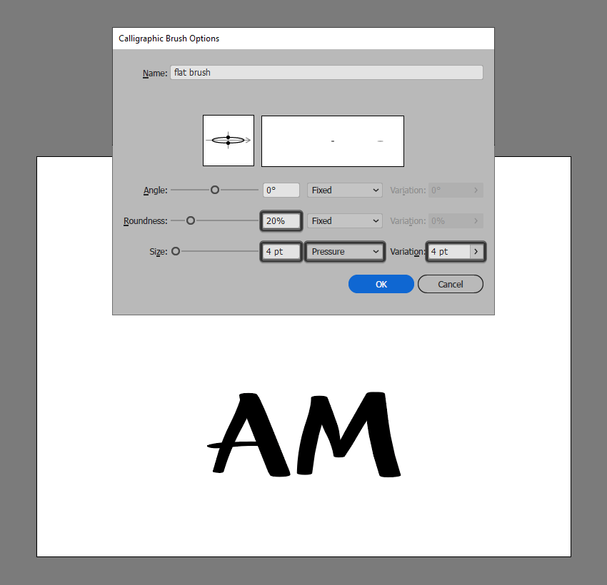 flat brush example with size set to pressure