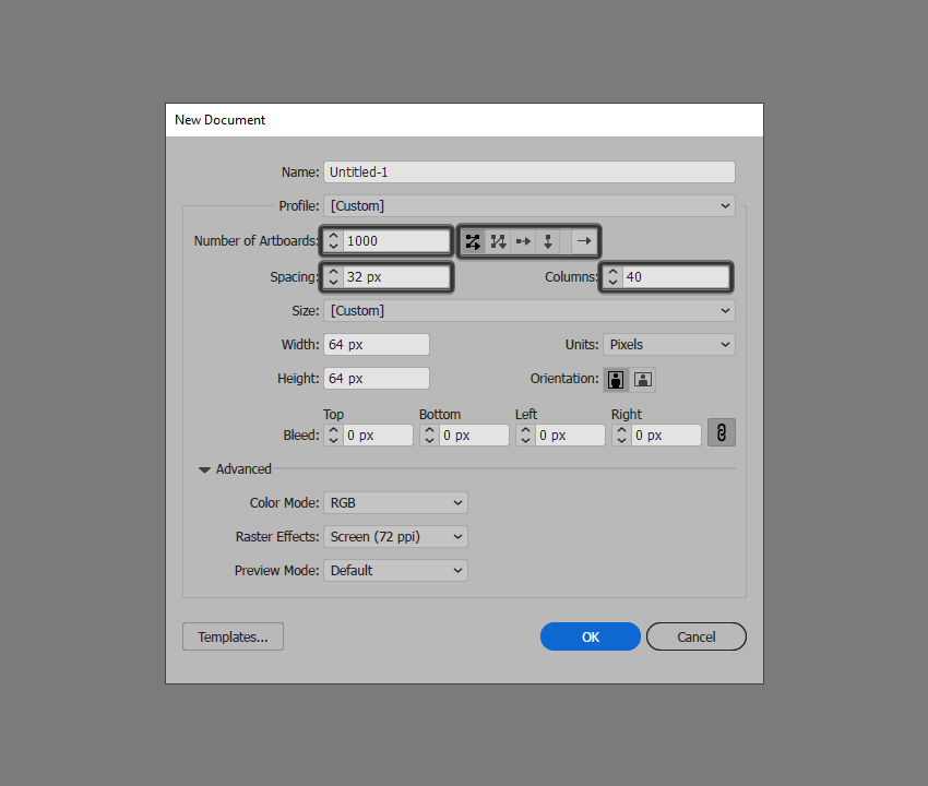 example of artboard implementation in illustrator