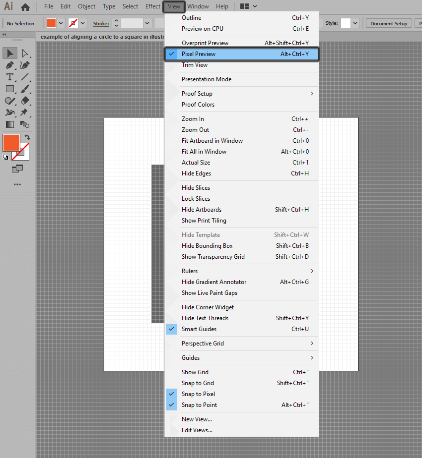 example of enabling pixel preview in illustrator