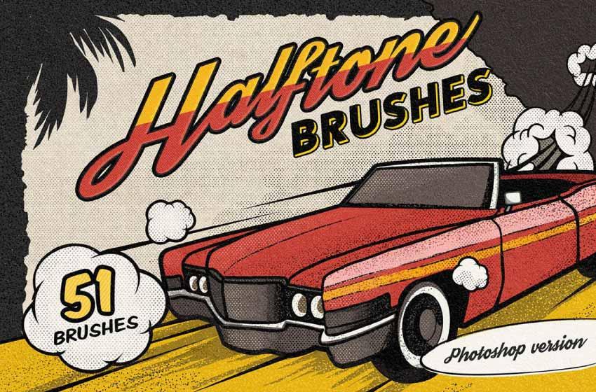 vintage comic book halftone brushes