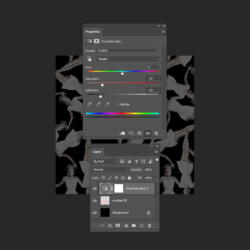 adding a hue saturation adjustment layer