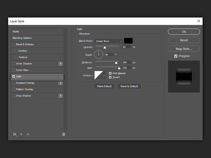 example of the satin layer style settings