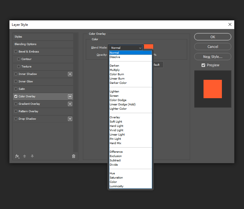 example of blend mode overlays