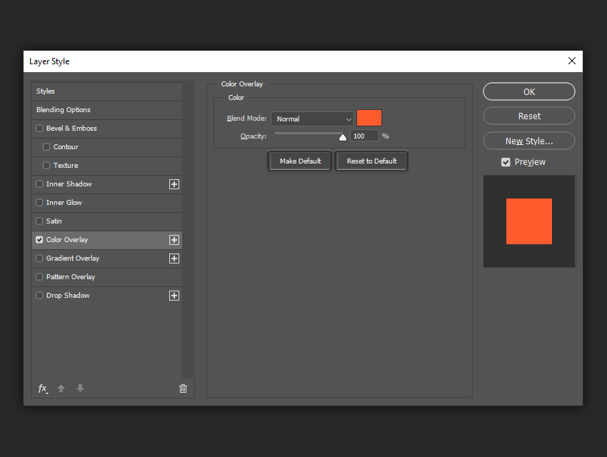 example of saving and resetting the color overlay settings