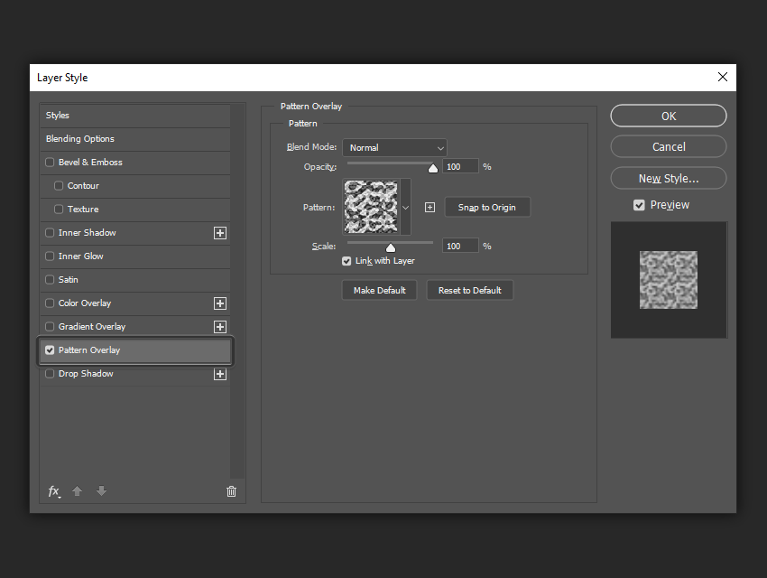 example of the pattern overlay settings