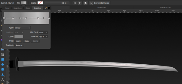 Linear Gradient added to blade