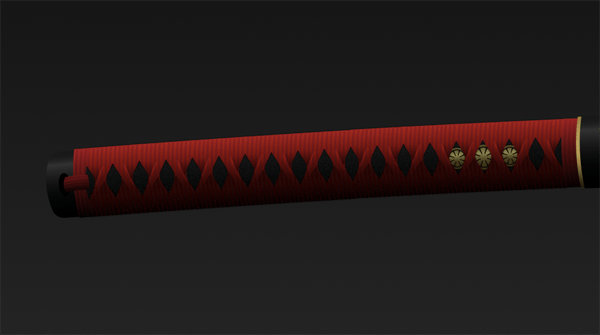 completed katana handle