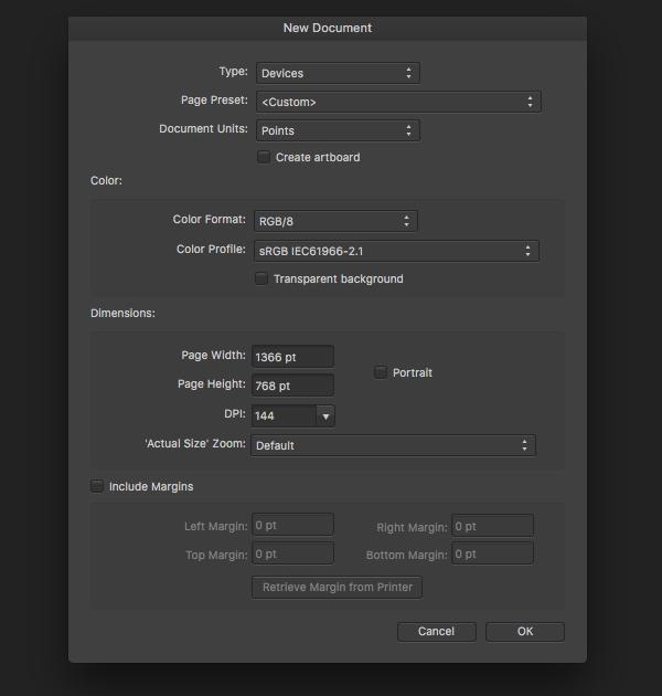 new Affinity Designer document