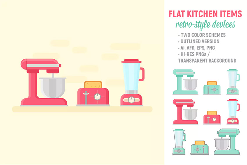 Flat Retro Kitchen Items