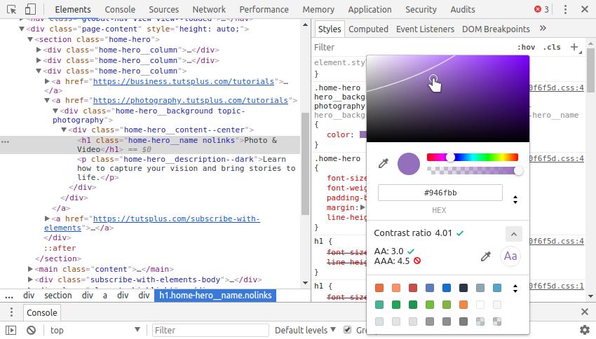 Hướng dẫn sử dụng công cụ để check contrast trong Chrome