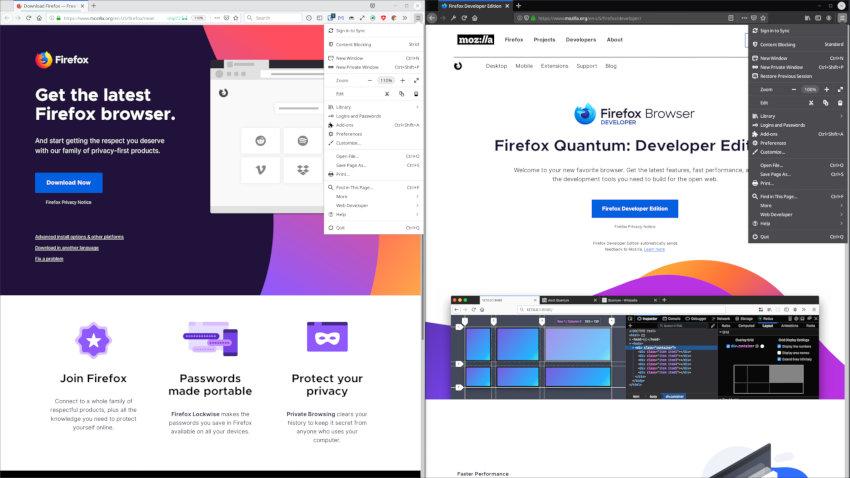 Firefox regular on the left Firefox Developer on the right