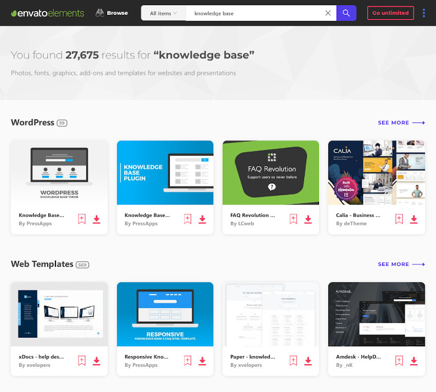 Some of the knowledge base themes WordPress wiki themes and documentation templates on Envato Elements with unlimited access