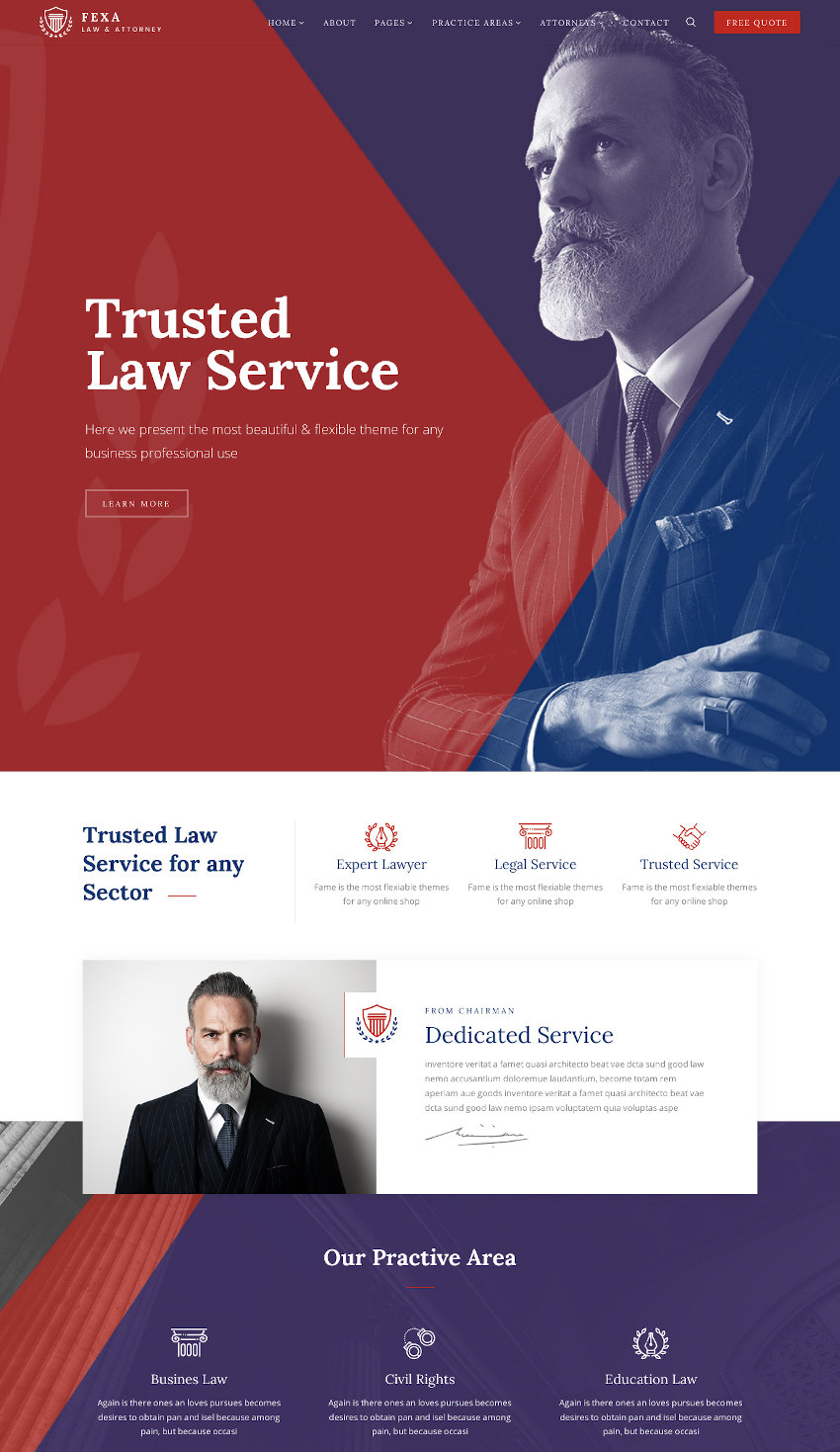 Fexa - Lawyer  Attorney WordPress Theme