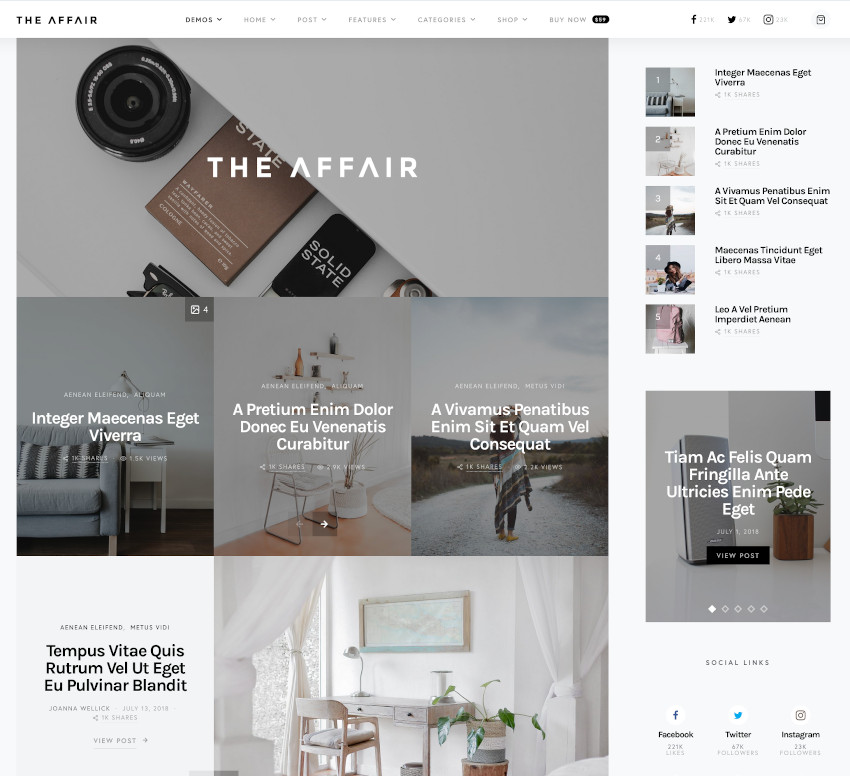 The Affair blog or magazine WordPress theme