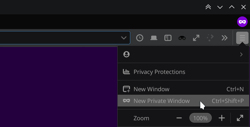 private window in Firefox