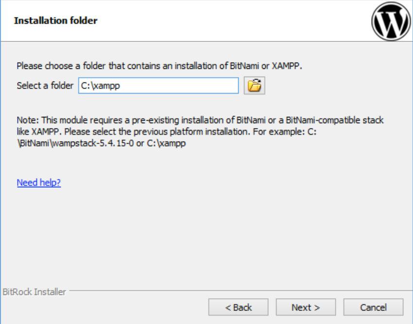 specify the XAMPP install directory