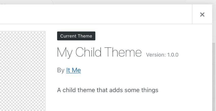 child theme information