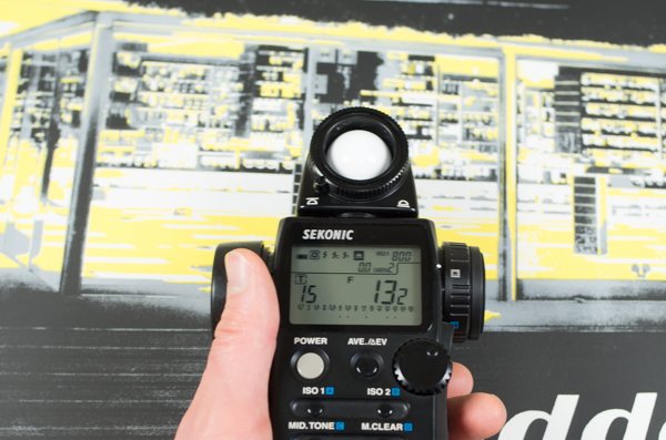 Checking exposure with light meter