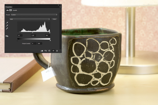 Adjusting the levels in Adobe Photoshop