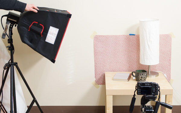Setting up a light for a lifestyle photo
