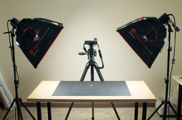 Copy board lighting setup for macro photography