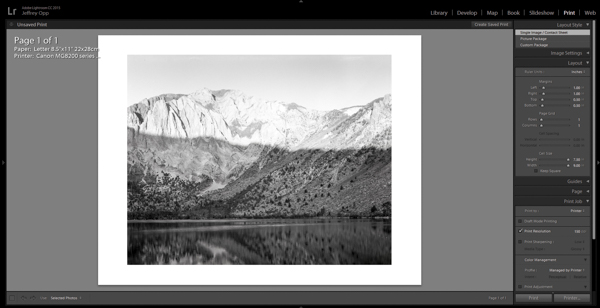 Adjusting the page layout in Adobe Lightroom