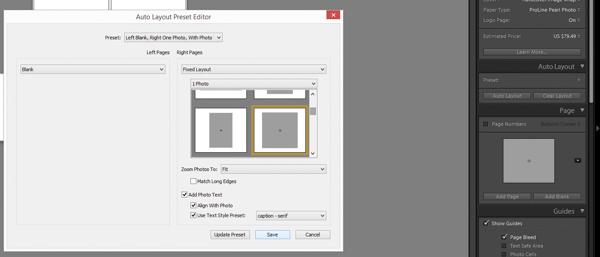 Lightroom book module Auto Layout editor