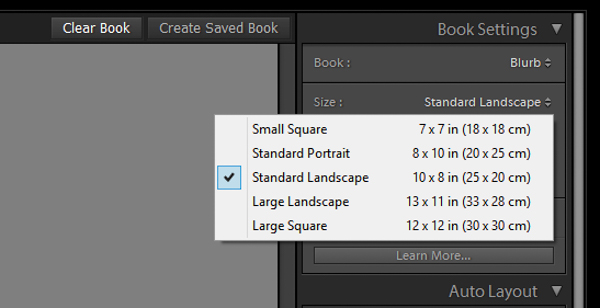 Lightroom book module book settings
