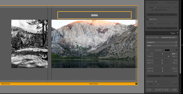 Lightroom book module adding cover text