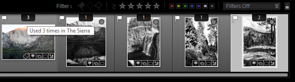 Lightroom book module filmstrip