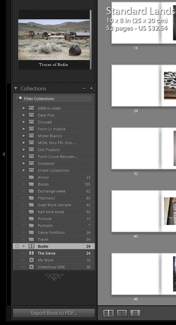 Lightroom book module collections