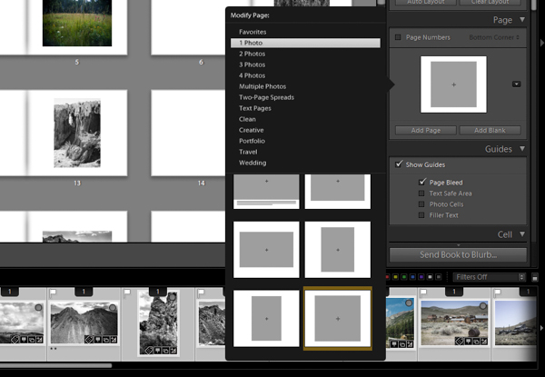 Lightroom book module adding a page