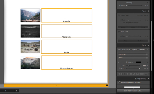 Lightroom book module adding text