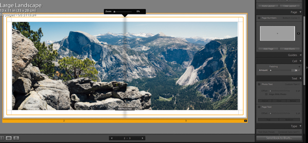 Lightroom book module two page spread