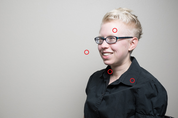 Areas measured with a spot meter for a portrait