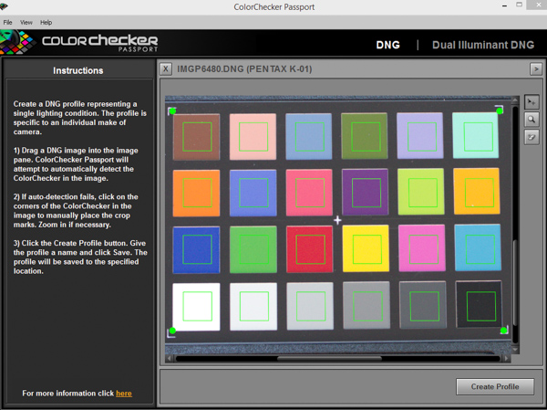 Ready to create a profile with ColorCheckers software