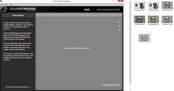 Dragging a ColorChecker chart image into profiling software