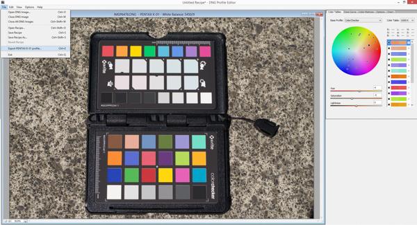 Exporting  a camera profile