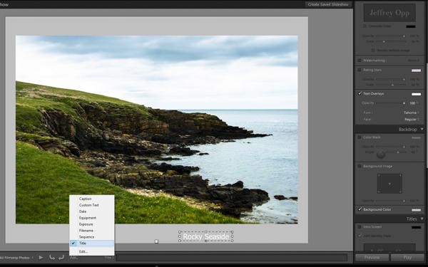 Displaying image titles for a slideshow
