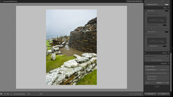 Previewing the slideshow in Lightroom