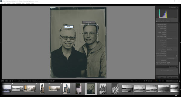 Facial recognition in Adobe Lightroom