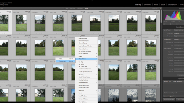 Merging photos to panorama in Adobe Lightroom