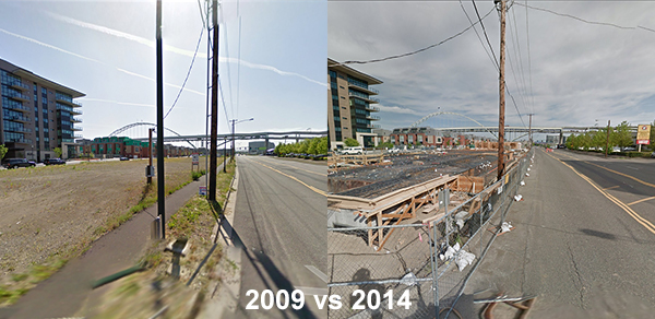 Two view of the same area separated by five years are shown in images from Google Street View