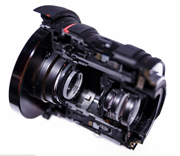 A cut-away view of a Canon Zoom Lens