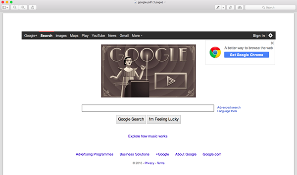 An example of the Google homepage in PDF format