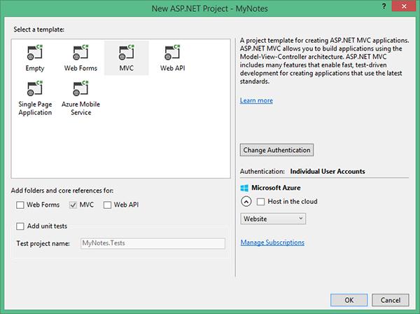 New ASPNET MVC Project