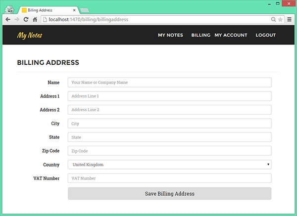 Adding a Billing Address