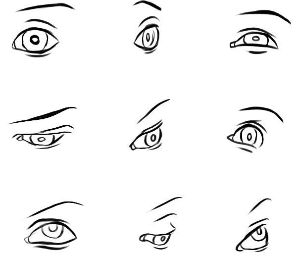 eye sketches at different angles